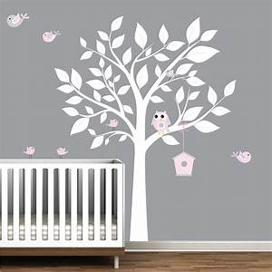 nursery wall decal white tree with birds bird house wall With stunning white tree wall decal for nursery