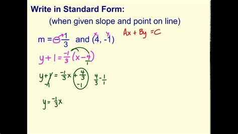 write standard form   point  slope youtube