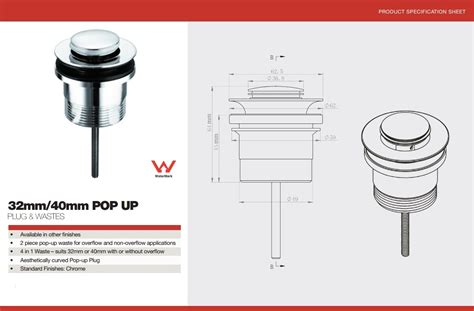 kitchen sink pop up waste basin pop up waste 32 40mm bathrooms on a budget 8527