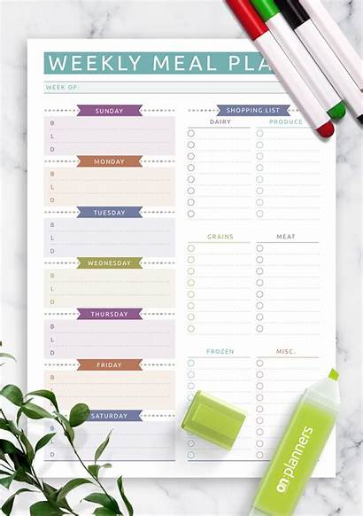 Meal Weekly Shopping Plan Planner Template Printable