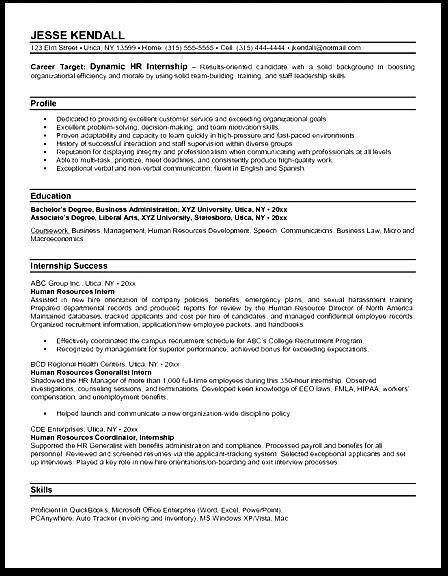 hr internship resume exles free sles exles