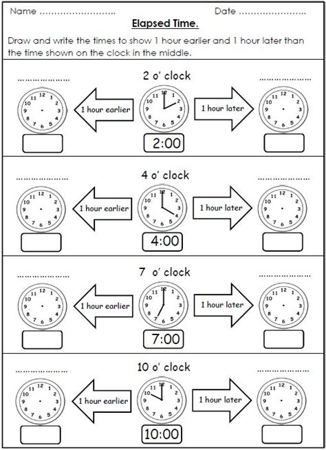 free elapsed time worksheets 1 hour earlier 1 hour later maths time activities 4th grade