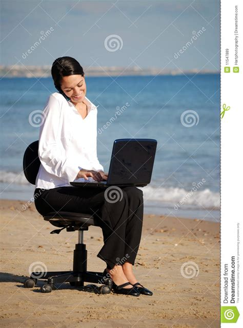 business woman working   beach royalty  stock