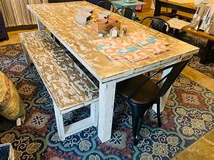 Rustic, Farmhouse, Table, With, Chairs, And, Bench, Weathered, White, Top, With, Distressed, White, Base