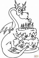 Coloring Birthday Happy Cake Birthdays Popular sketch template