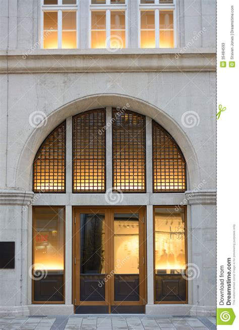 Building Entrance With Warm Light Stock Photos - Image