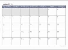 Calendário junho 2019 para imprimir iCalendáriopt