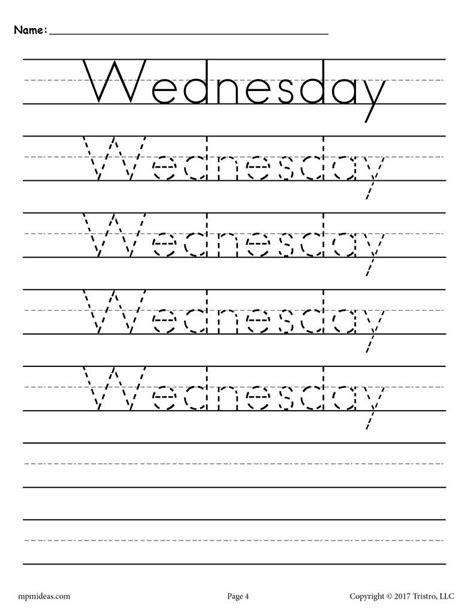 days   week handwriting worksheets  images