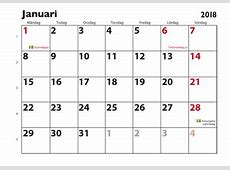 Januari 2018 kalender Download Free Printable Calendars