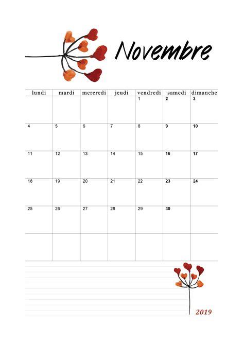 calendrier novembre   imprimer calendriers