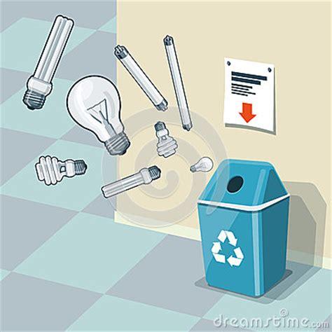 used light bulbs recycling bin trash stock vector image