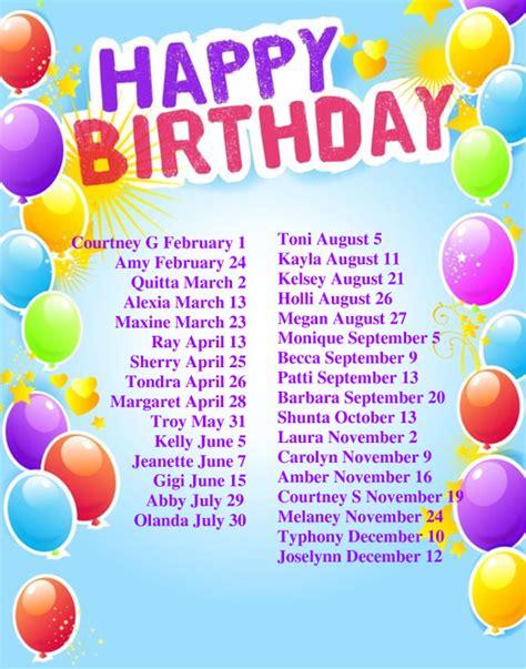 birthday list template 23 birthday list templates free sle exle format free premium templates
