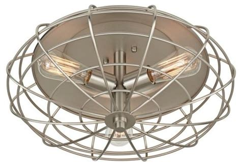 industrial cage nickel 7 1 2 quot high ceiling light fixture