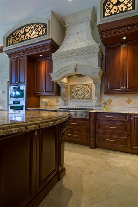 cast stone range hood wows  mediterranean kitchen hgtv