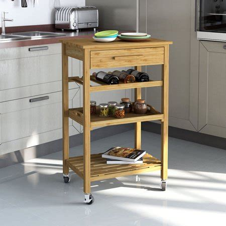 rolling kitchen island cart rolling bamboo kitchen cart island trolley cabinet w