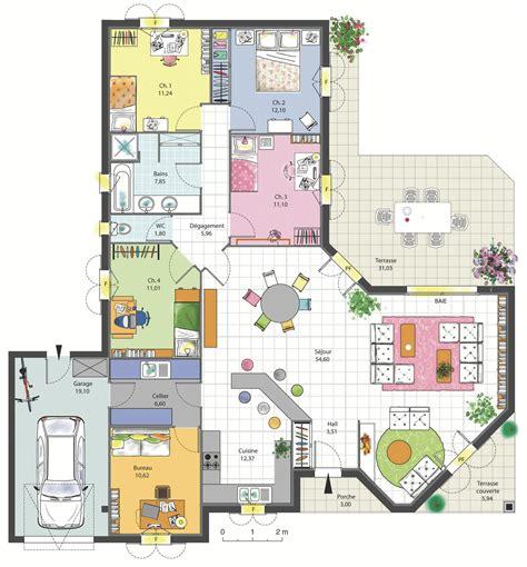 logiciel amenagement cuisine maison familiale 4 chambres avec bureau terrasse garage