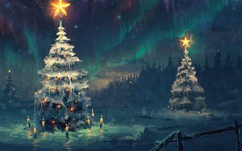 night stars christmas lights northern lights sky star night winter christmas tree snow