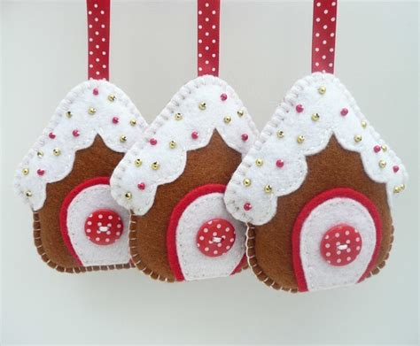 x3 gingerbread house felt christmas decorations folksy