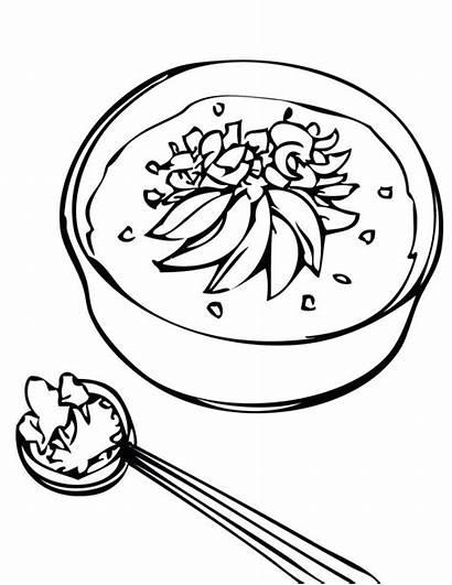 Clipart Soup Coloring Rice Porridge Pages Stone