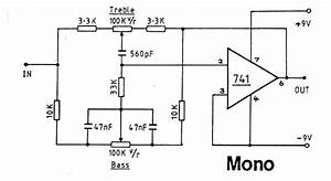 audio electronic circuits or electronic schematics With amplifier with tone controls and soft switching