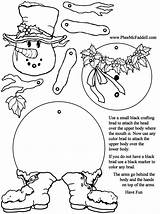 Coloring Puppet Paper Pages Snowman Crafts Puppets Pheemcfaddell Christmas Craft Neige Bonhomme Phee Mcfaddell Doll Jointed Printable Toys Split Cut sketch template