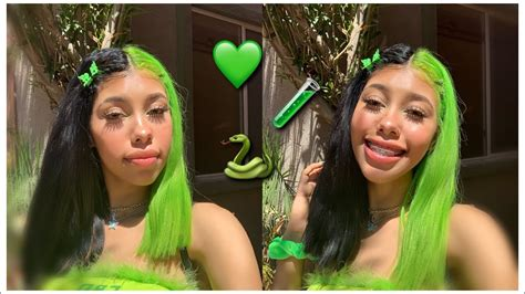 Split Dying My Hair Black And Neon Green 💚 Youtube