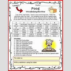 Spanish Food Vocabulary Review With Idiom Levels 1 And 2