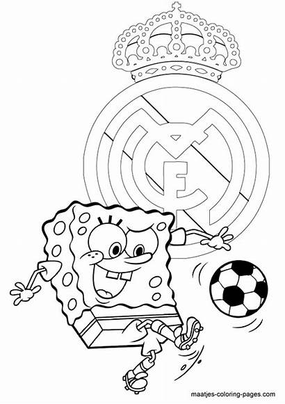 Madrid Coloring Pages Soccer Spongebob Football Playing