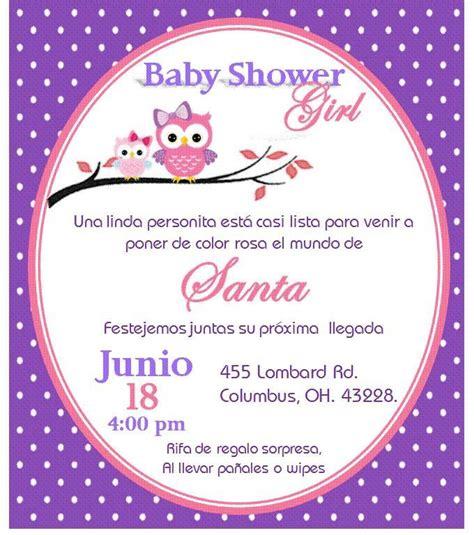 Invitacion de búho para baby shower niña invitaciones