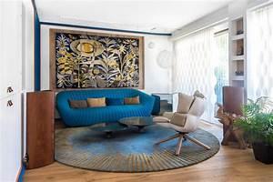 renovation deco a paris en bleu et en biais galerie With tapis exterieur avec canape roche bobois promotion
