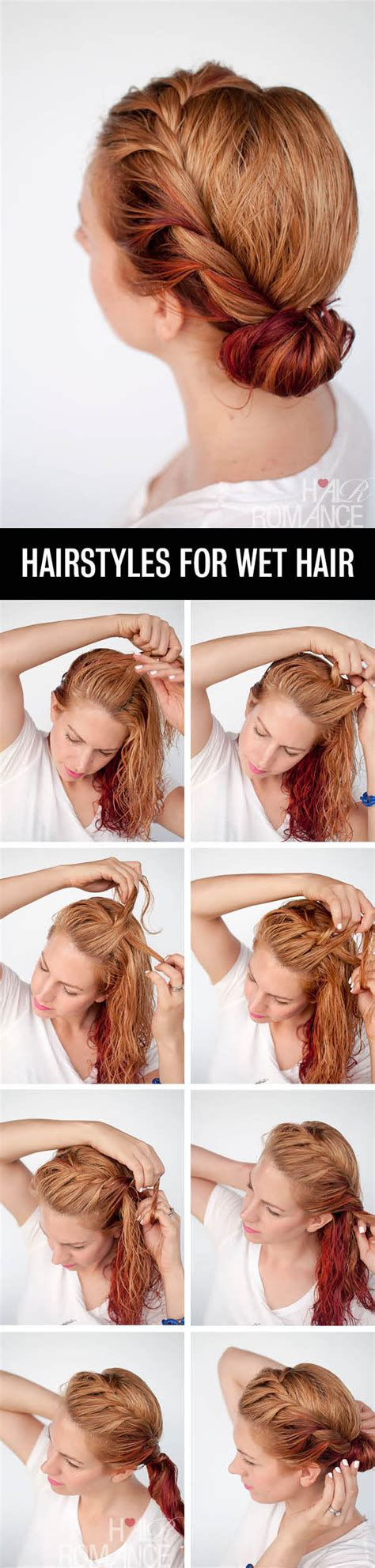 get ready fast with 7 easy hairstyle tutorials for wet