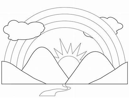 Coloring Mountain Mountains Scenery Pages Rainbow Scenic