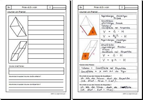 mathematik geometrie arbeitsblatt prisma zylinder
