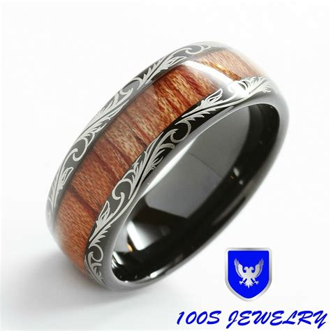 mens wedding band black tungsten ring koa inlay comfort fit size 6 ebay