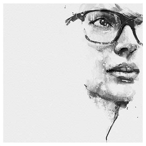 Abstract Black And White Portrait by Spontaneous And Realistic Black And White Pencil