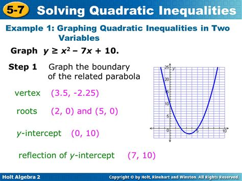 Objectives Solve Quadratic Inequalities By Using Tables And Graphs  Ppt Video Online Download