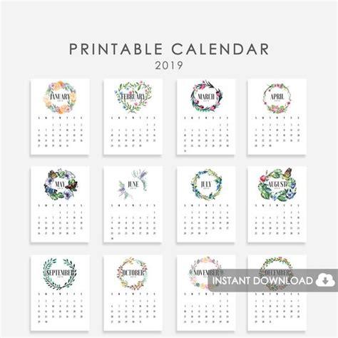 floral wreath calendar printable calendar etsy