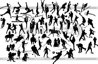 silhouettes  sportsmen stock vector graphics cliparto