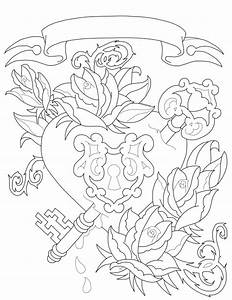 Heart Lock Drawing Coloring Pages