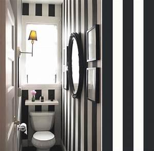 Papier Peint Rayé Noir Et Blanc : quel papier peint pour des toilettes blog au fil des ~ Dailycaller-alerts.com Idées de Décoration
