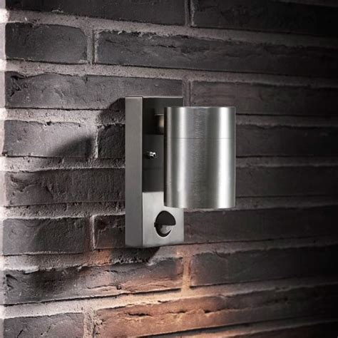 nordlux tin outdoor wall light with sensor stainless steel