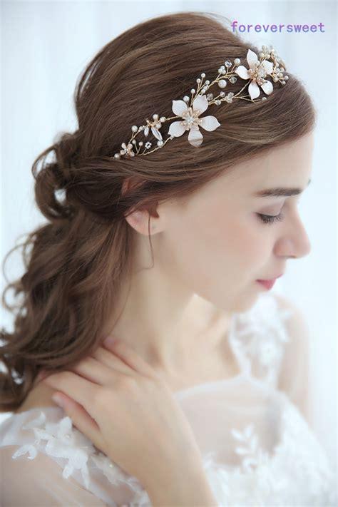 hair decoration pearl golden flower leaf hairbands hair decoration