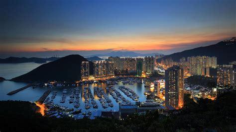 hong kong harbor mountain sunset wallpapers hd desktop  mobile backgrounds