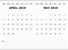Free 2019 2 Month Printable Calendar Templates Printable