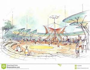 Architectural Drawing Of Playground In The City Stock Illustration Image: 44223803