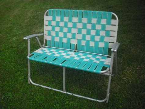 loveseat lawn chair vintage webbed aluminum folding lawn chair seat