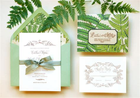 holiday stationery diy tutorial vintage fern wedding invitations