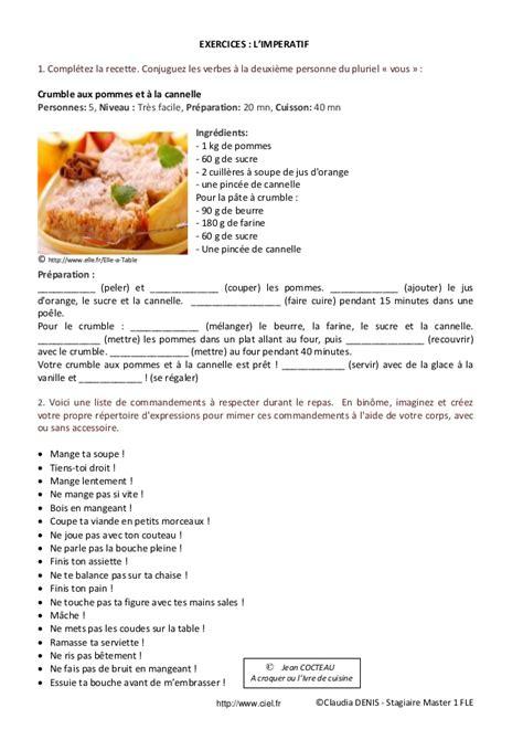 recette de cuisine sur 3 fiche p 233 dagogique fle imp 233 ratif