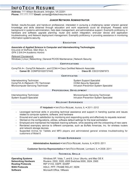 principal resume exles 2015 it resume sles infotechresume