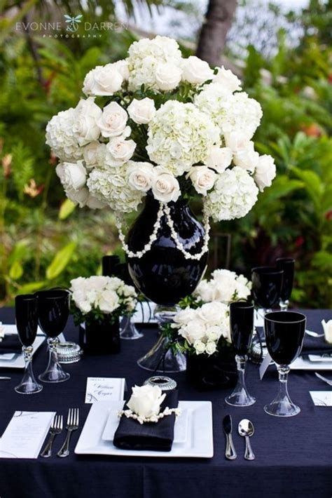 black and white table arrangements black and white centerpieces platinum parties